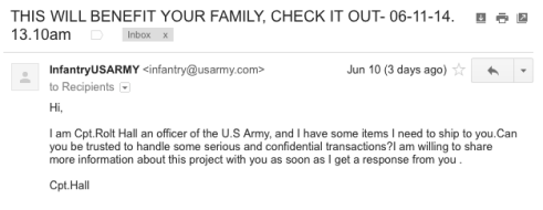 Army spam email